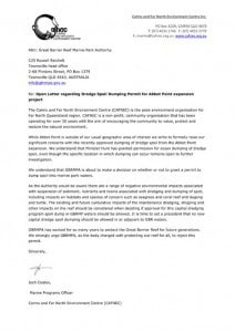 Open Letter to GBRMPA re Abbot Point dredge spoil