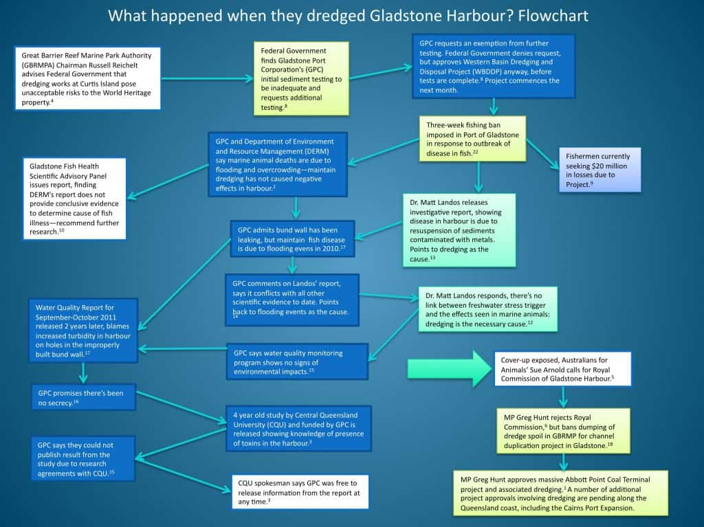 Flowchart - What happened when they dredged Gladstone Harbour?