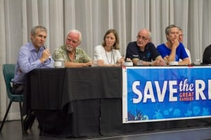 Panellists address questions at the community forum on Cairns port dredging