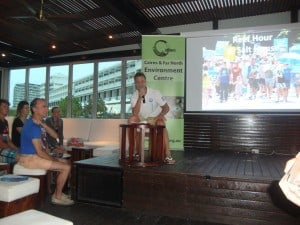 Blue Dive Owner Mark Fraenkel speaking at Cairns Reef Hour event.