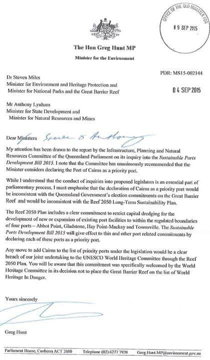 Letter from Hunt backs Queensland Government stance on Cairns Port Dredging.