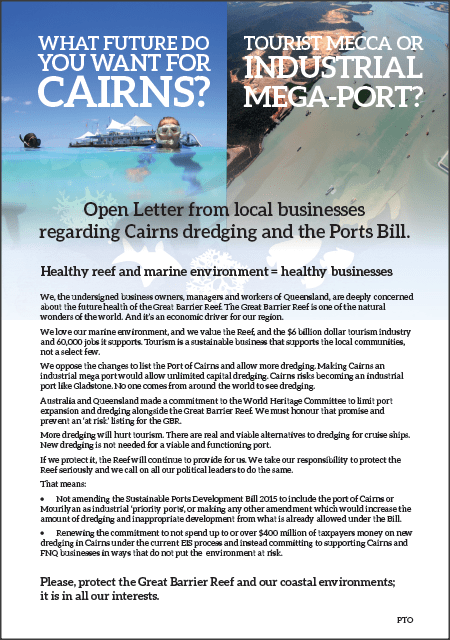 Local Businesses open letter on Cairns Dredging and the Ports Bill released